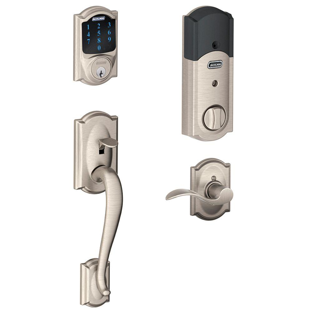 Connect Camelot Satin Nickel Touchscreen Deadbolt with Alarm and Handleset with Accent Interior Lever
