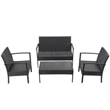 Gymax Patio Garden 4PC Rattan Wicker Furniture Set Black - image 6 of 9