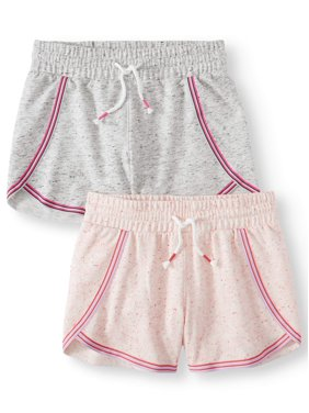Athletic Works Embroidered Dolphin Hem Active Short, 2-Pack (Little Girls & Big Girls)