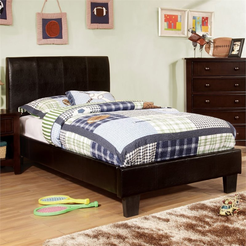 Furniture of America Mevea Leatherette Twin Platform Bed ...