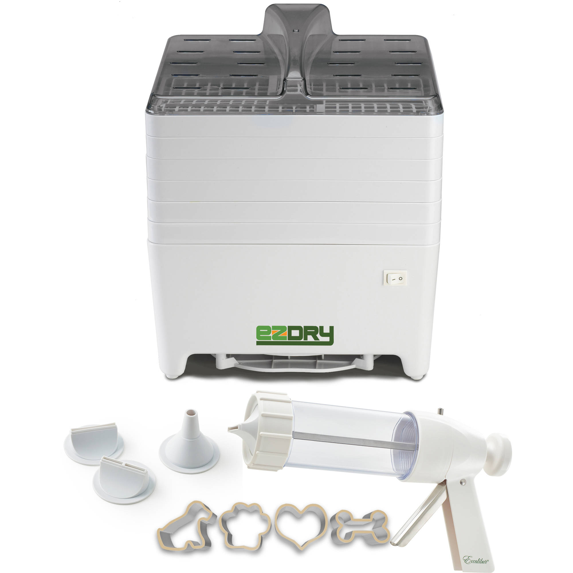 Excalibur Pet Treat Dehydrator with Jerky Gun and Treat Cutters, White