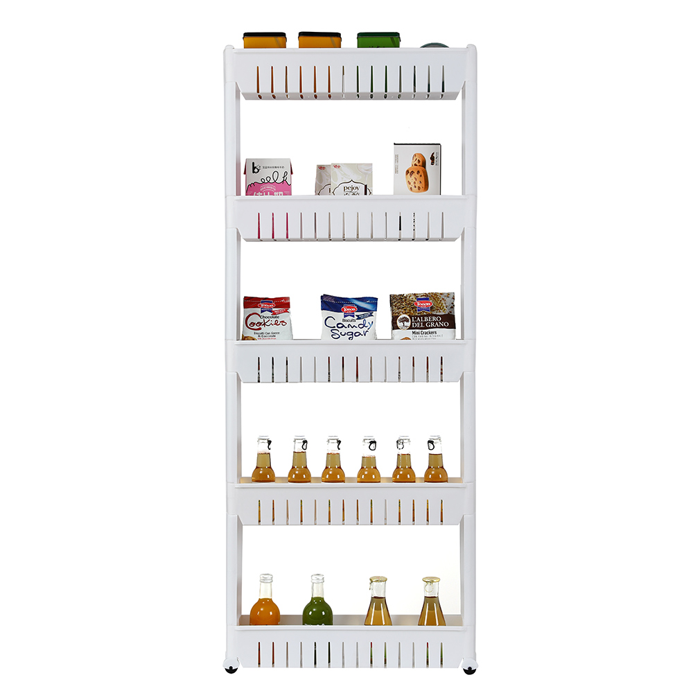 5 Tier Mobile Shelving Unit Organizer Slide Out Storage ...