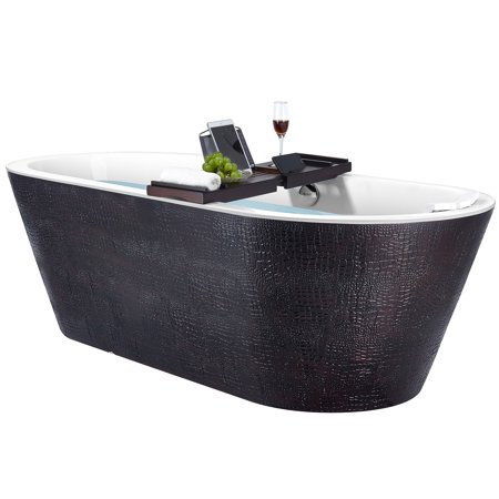 Freestanding Bathtub – 71 Inch Black & Brown Acrylic Bathtub – Modern Flat Bottom Stand Alone Tub – Luxurious SPA Tub