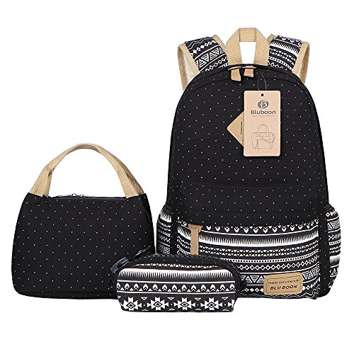 DOPO Teens Backpack Set Canvas Girls School Bags, Bookbag...