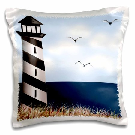 3dRose Lighthouse on the Beach, Pillow Case, 16 by 16-inch