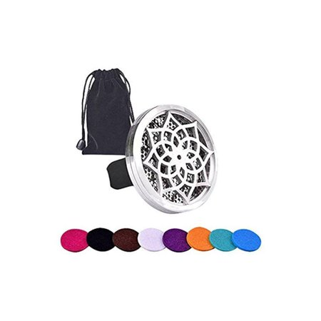 Car Aromatherapy Essential Oil Diffuser (Flower) + 10 Refill Pads, Vent Clip