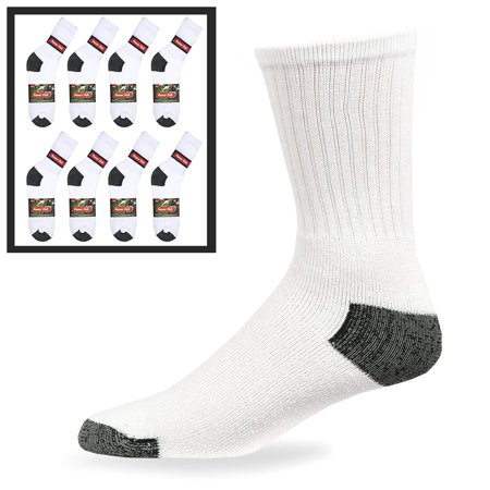 8X Pairs Mens Sports Crew Socks Cotton Calf Cushioned Athletics White Size 10-13