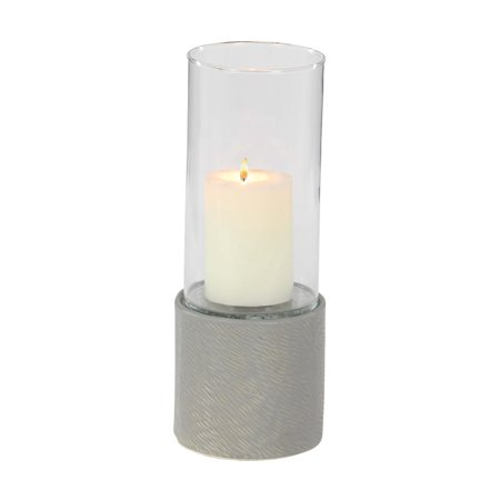 Decmode Contemporary 13 Inch Textured Ceramic Cylinder Hurricane Candle Holder, Gray ()