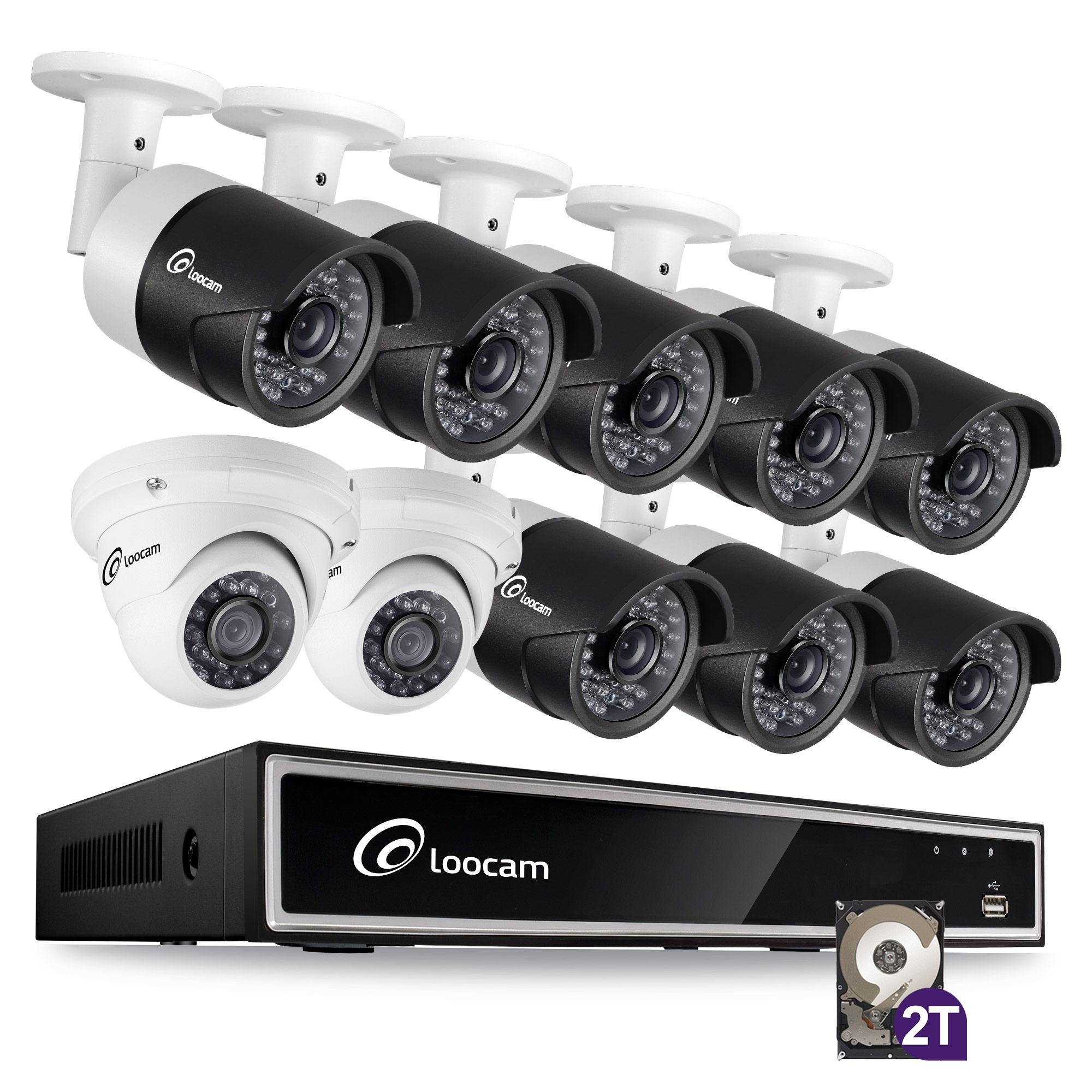 Loocam 1080p HD 16 Channel HD-TVI Video Security Camera System, 2TB DVR Kit, with 8 pcs 2MP Outdoor/Indoor IR Weatherproof Bullet Cameras and 2 pcs Dome Cameras