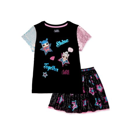 L.O.L. Surprise! Girls Fashion Top and Skirt Outfit Set, 2-Piece Sparkle Skirt Set
