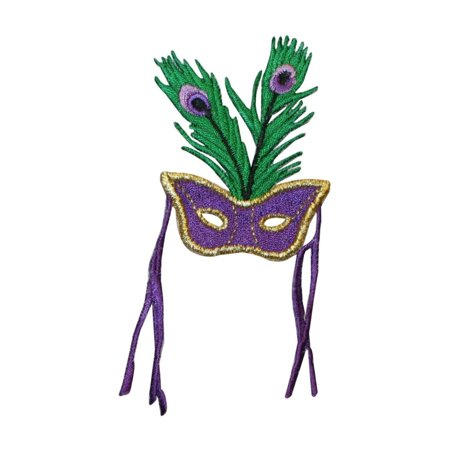 ID 3399 Mardi Gras Mask With Feathers Patch Peacock Embroidered Iron On Applique (Mardi Gras Peacock Mask)
