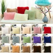 "18""x18"" Throw Pillow Case Faux Fur Fuzzy Cushion Cover Decorative Light Yellow"