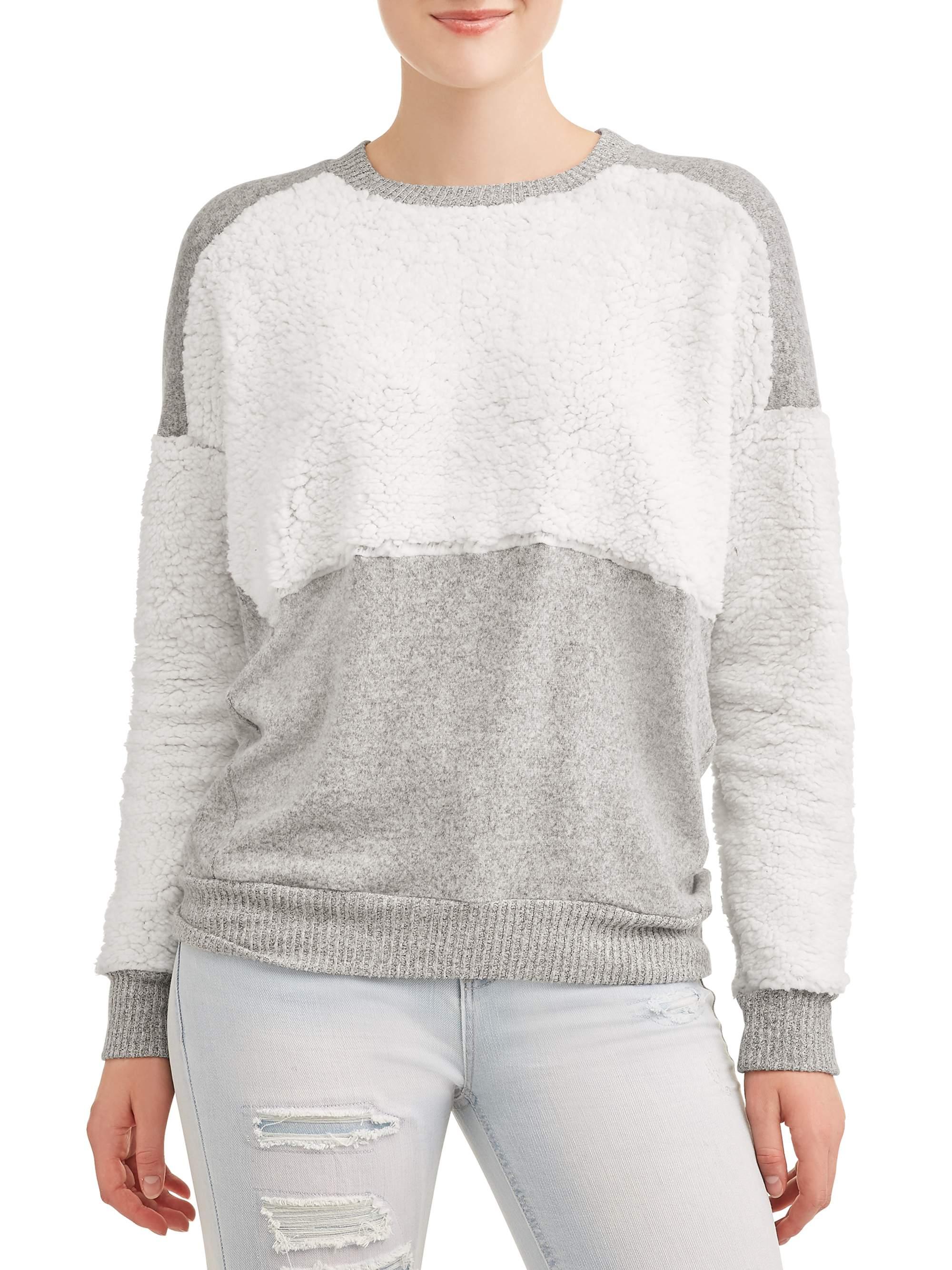Poof! Juniors' Sherpa Colorblock Pullover Long Sleeve Sweatshirt