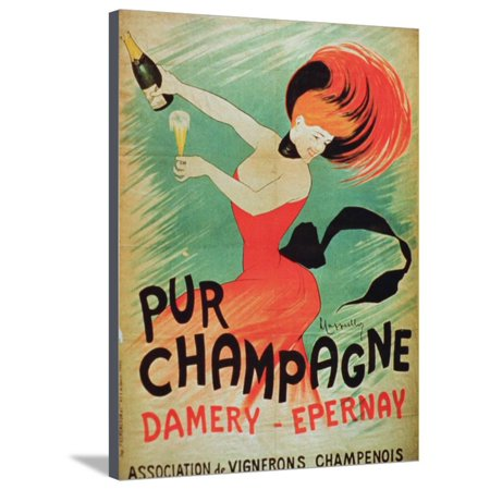 Advertising Canvas (Poster Advertising 'Pur Champagne', from Damery, Epernay Stretched Canvas Print Wall Art)