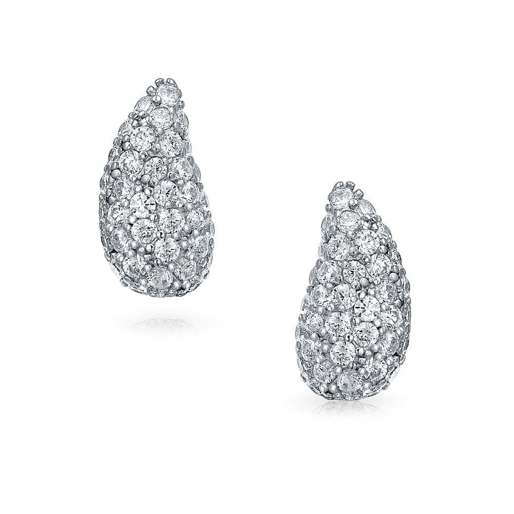2937a0235 Minimalist Cubic Zirconia Pave CZ Teardrop Stud Earrings For Women 925  Sterling Silver