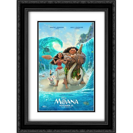 Moana 18X24 Double Matted Black Ornate Framed Movie Poster Art Print