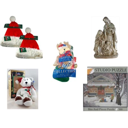 - Christmas Fun Gift Bundle [5 Piece] - Trim A Home Deluxe Santa Hat Adult Large Set of 2 - Silver Glitter Nativity Scene - Avon Collection O Deer Door Knob Cover & Window Decoration - Limited Treasur