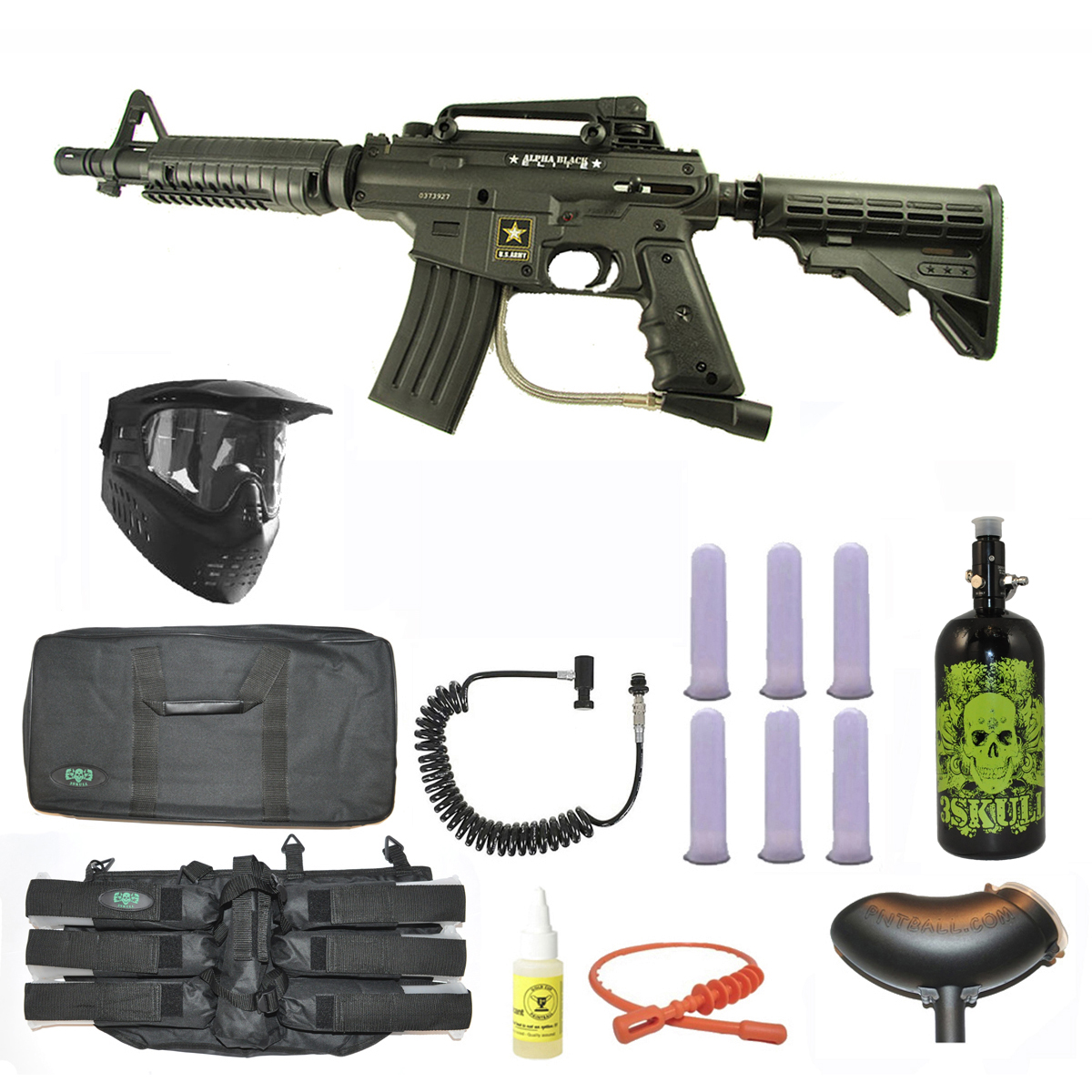 US Army Alpha Black Tactical Paintball Marker Gun 3Skull Nitro Sniper Set