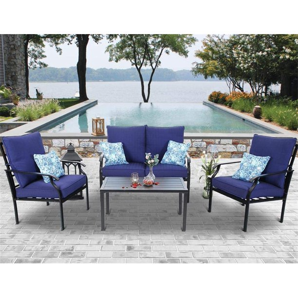 MF Studio 4 PC Outdoor Patio Furniture Padded Deep Seating Conversation Set with 1 Loveseat, 2 Single Sofa, 1 Coffee Table & 4 Free Pillow, Navy Blue