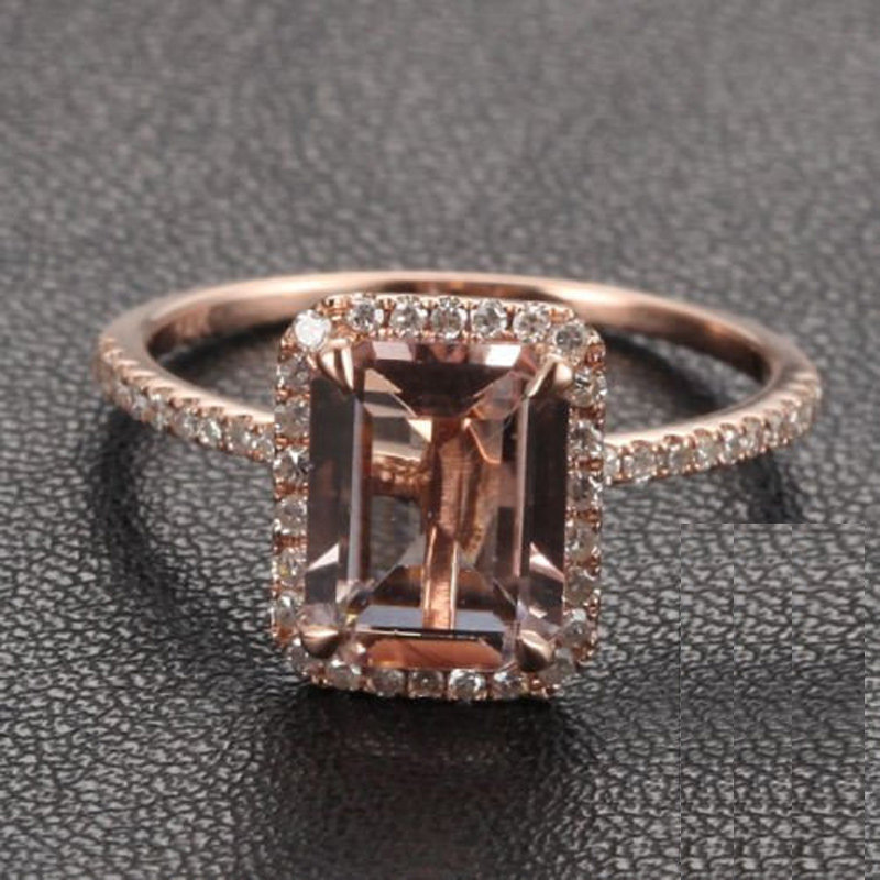 1.50 Carat Peach Pink Morganite (emerald cut Morganite) and Diamond Engagement Ring in 10k Rose Gold by JeenMata
