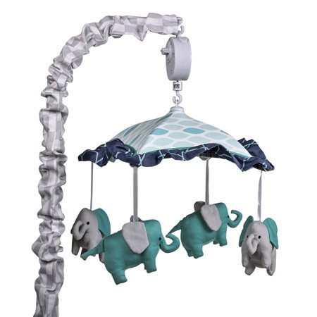 Angel Mobile Collection (The Peanut Shell Musical Crib Mobile - Mosaic Collection - Aqua and Grey)