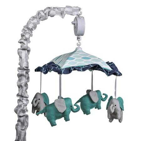 The Peanut Shell Musical Crib Mobile - Mosaic Collection - Aqua and Grey