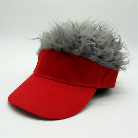 Golf Visors With Hair (Novelty Wig Baseball Hat Sun Visor Cap with Fake Hair Specification:Black hat gray)