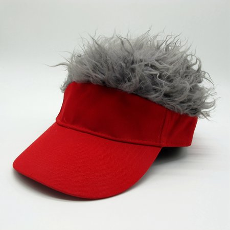 Novelty Wig Baseball Hat Sun Visor Cap with Fake Hair Specification:Black hat gray hair - Christmas Novelty Hats