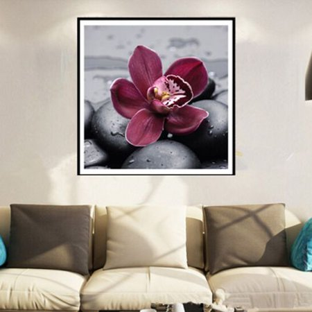 Simple Embroidery Stitches (KABOER 1Pcs 5D Diamond Painting Simple Purple Flower Series DIY Cross Stitch Living Room Bedroom Diamond Embroidery)