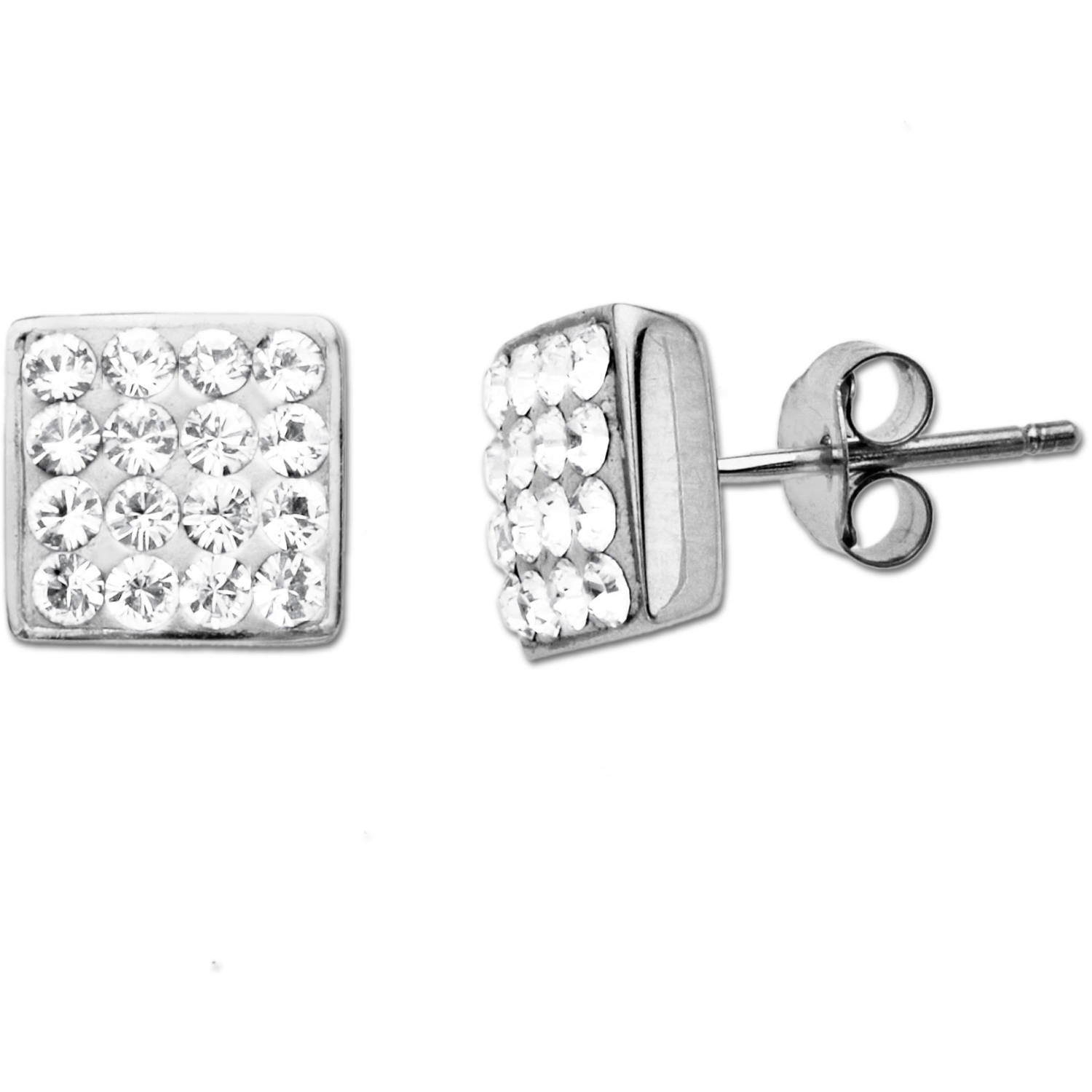 Luminesse Sterling Silver White Earrings made with Swarovski Elements