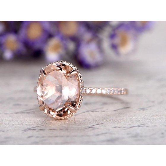 ab8b57743bea5b JeenMata - Huge 3 Carat antique design Morganite and Diamond oval cut  Engagement Ring in Rose Gold - Walmart.com
