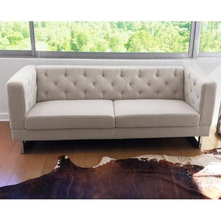 Orren Ellis Obregon Chesterfield Sofa In Cream Walmart Com