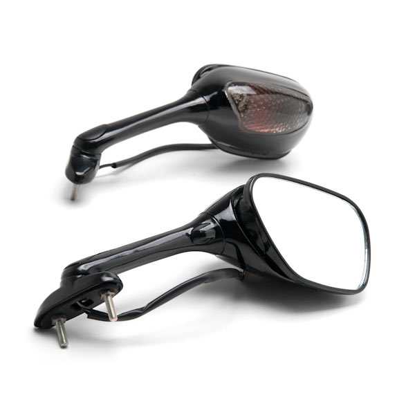 Krator Black Motorcycle Mirrors Turn Signals Left & Right For 2006-2009 Suzuki GSXR 600 / GSX-R600