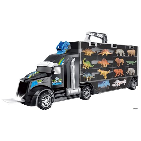 Memtes Dinosaur and Wild Life Animal Safari Car Carrier Transport Truck Toy (Includes 6 Dinosaurs 6 Animal, Jeep and