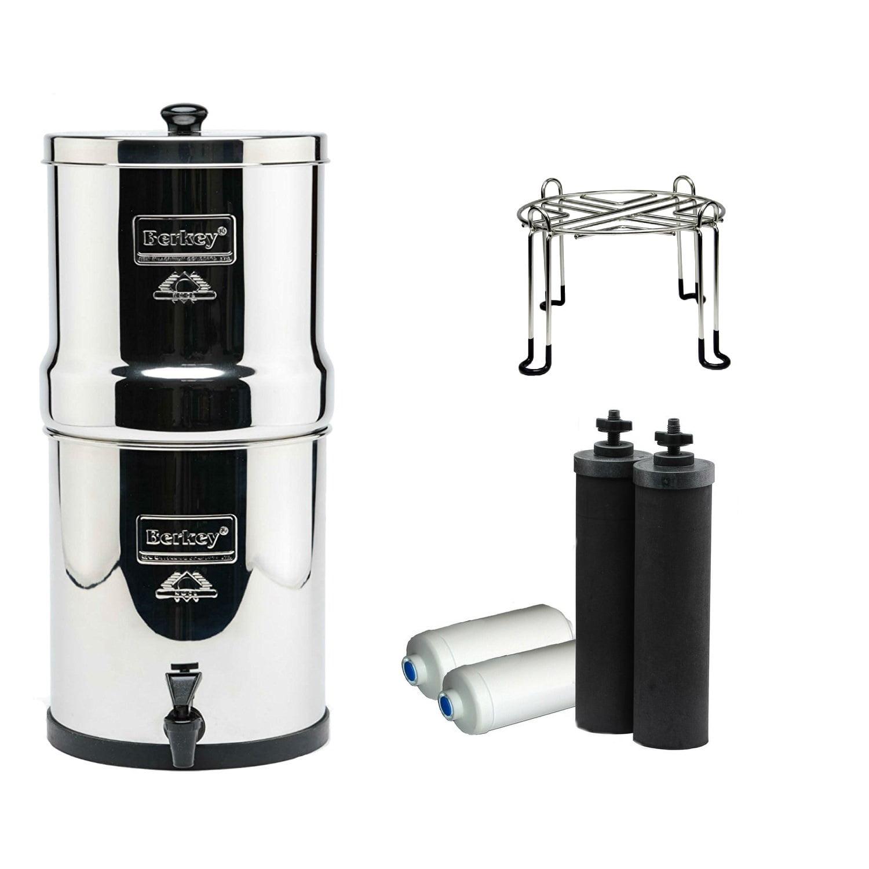 Berkey Crown Water Filter 6 Gal. with 2 Black, 2PF2 Filters & Wirestand