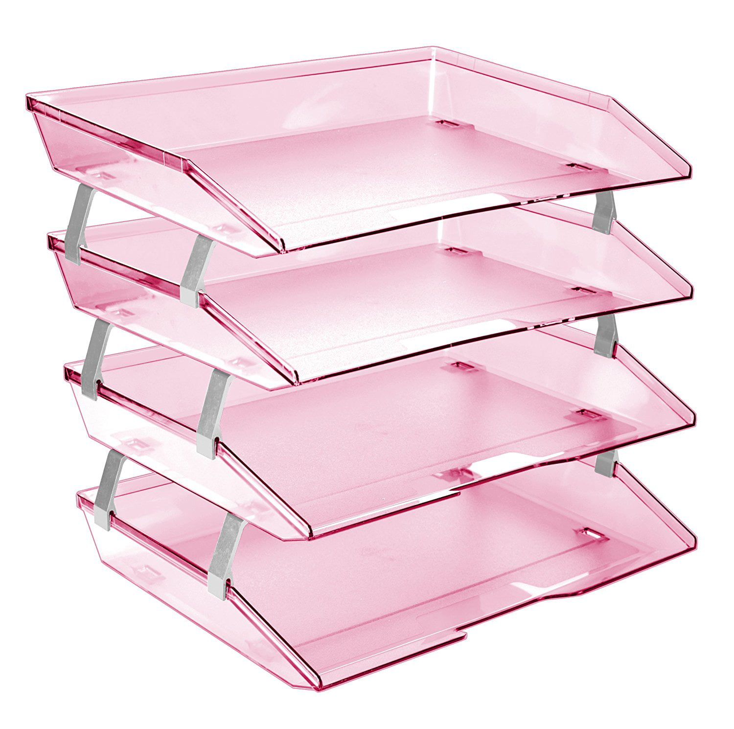 Acrimet Facility Letter Tray 4 Tiers (Clear Pink Color) by Acrimet