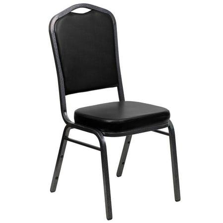 Crown Back Stacking Banquet Chair in Black Vinyl - Silver Vein Frame