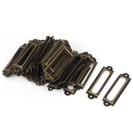 Home Wooden Box Drawer 60x17mm Label Frames Tag Holder Bronze Tone (Drawer Label Holders)
