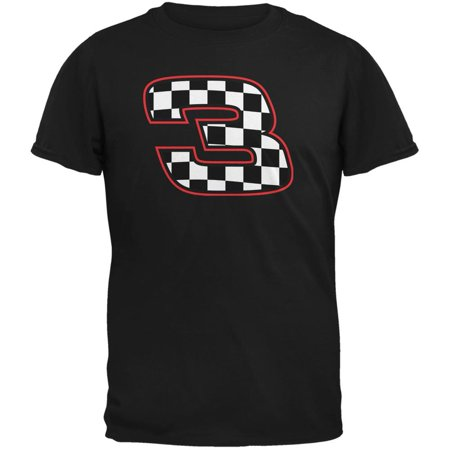 Racing Number 3 Checkered Flag Black Adult - Checkered Racing