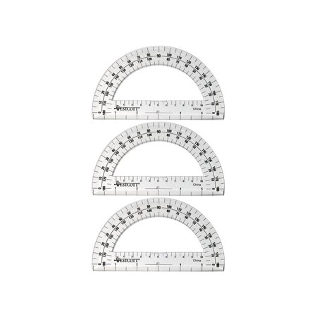 (3 pack) Westcott Clear Plastic Protractor