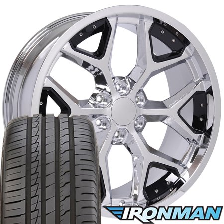 22x9.5 Wheels & Tires Fit GM Trucks - Chevy Silverado Style Chrome with Black Insert Rims with Ironman Tires, Hollander 5668 -
