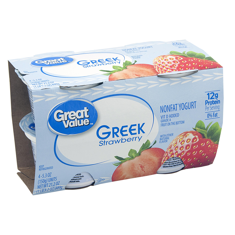 Great Value Strawberry Nonfat Greek Yogurt, 6 oz, 4 ct