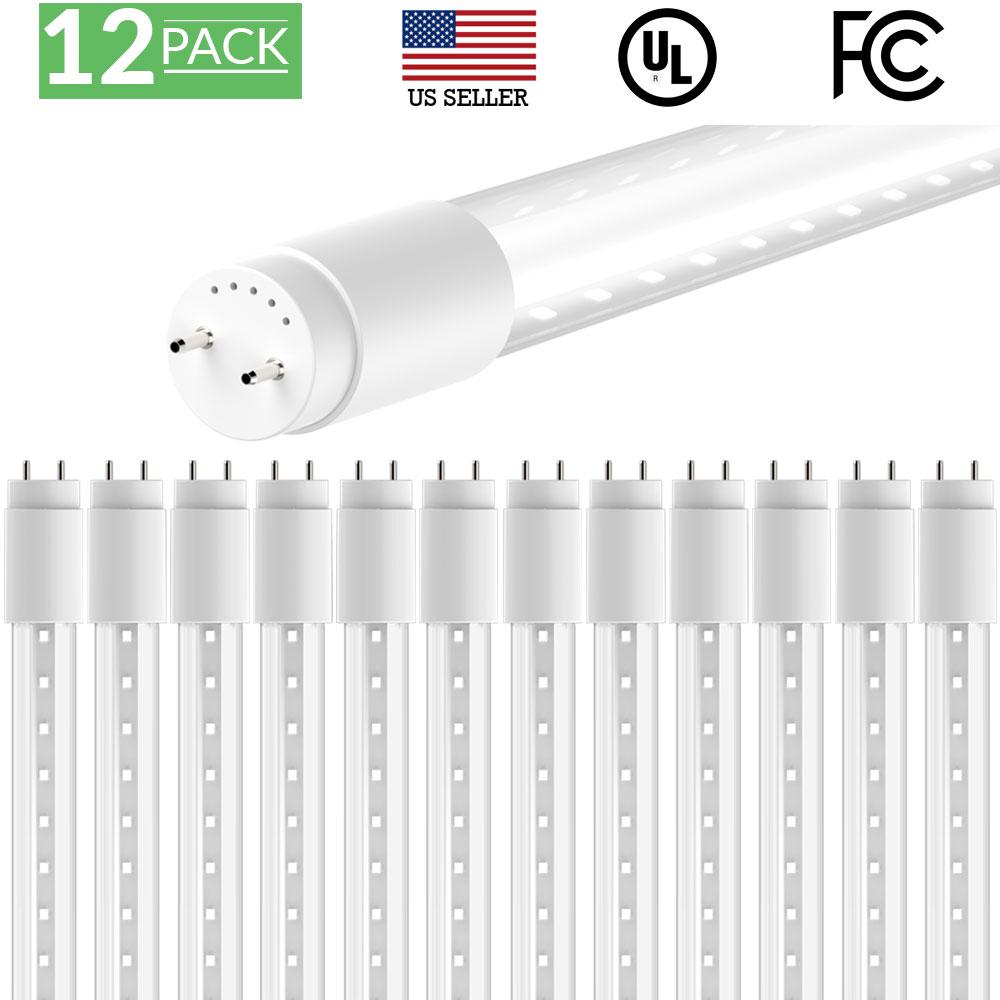 Sunco Lighting 12 Pack 4FT 48 Inch T8 Tube LED Light Bulbs 18 Watt (40 Equivalent) Clear 5000K Kelvin Daylight 2200LM, Bright White Light, Single Sided Connection Bypass Ballast - ETL & DLC LISTED