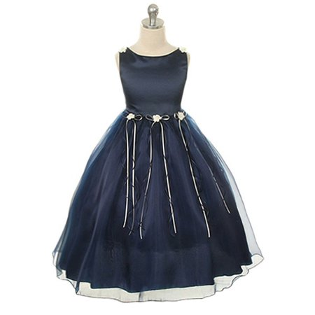 Kids Dream Girls Navy Rosebud Organza Flower Girl Dress 8-14