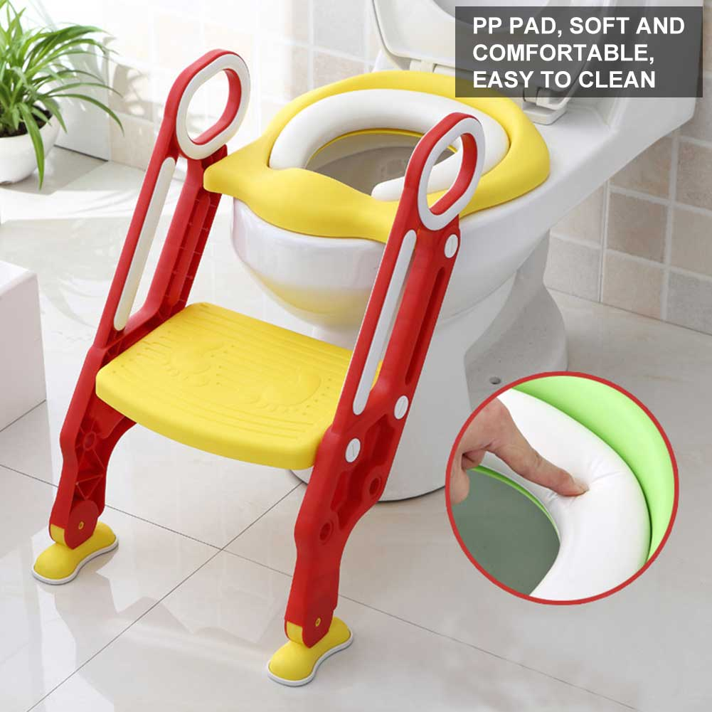 Child Toddler Toilet Chair Kids Potty Training Seat with Step Stool Ladder Soft
