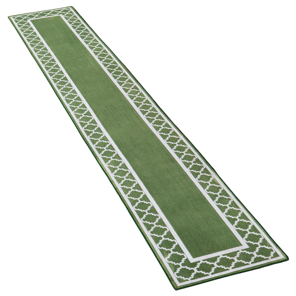 "Extra-Long Runner Rug with Trellis Border Design with Skid-Resistant Backing - Décor for Hallways or Any Room in Home, 20"" X 90"", Sage"