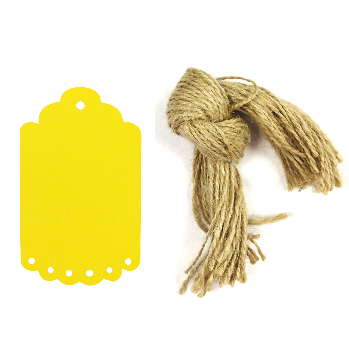 Wrapables® 50 Gift Tags/Kraft Hang Tags with Free Cut Strings for Gifts, Crafts & Price Tags, Small Scalloped Edge (Yellow)