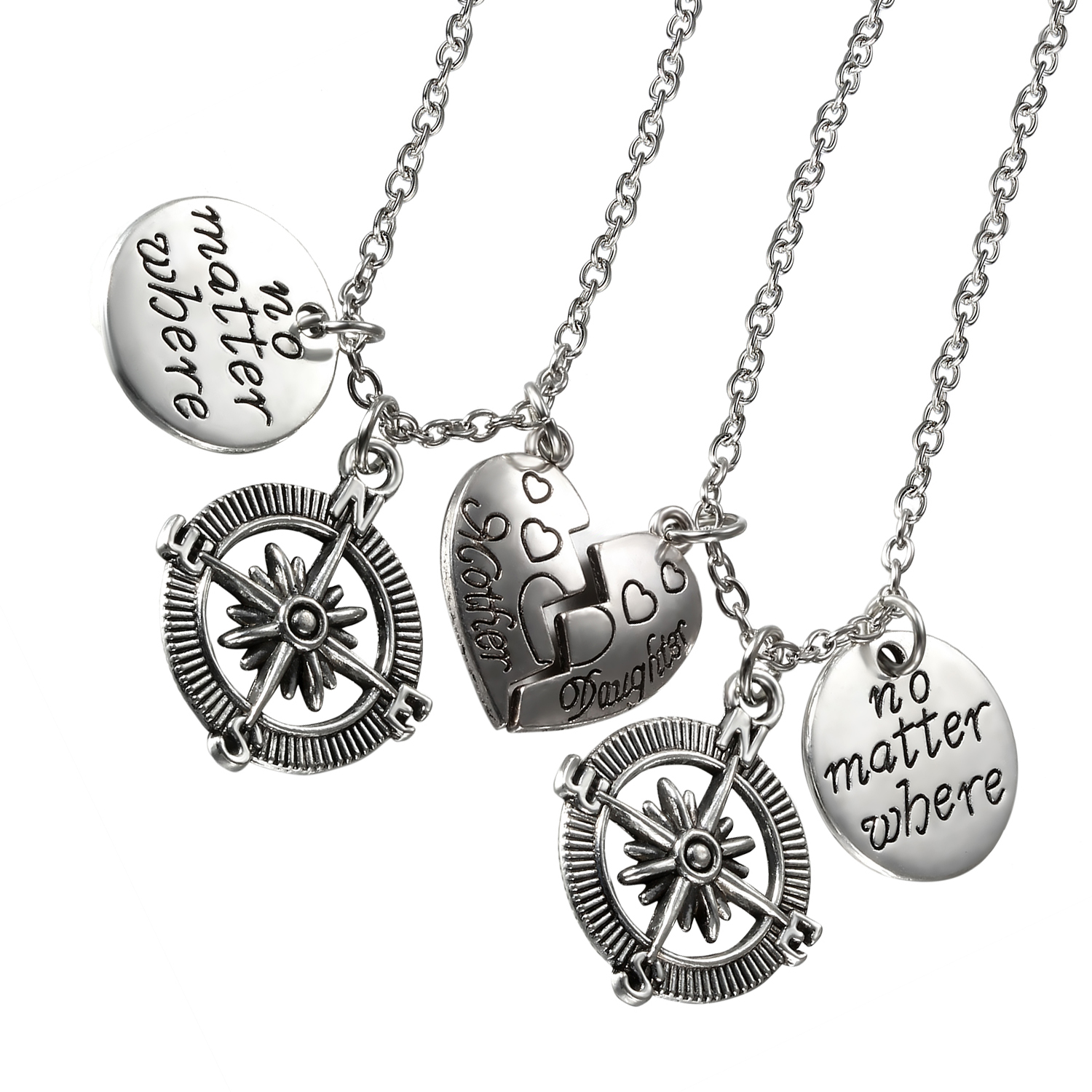 Aroncent 2PCS No Matter Where Compass Mother Daughter Love Heart Matching Pendant Necklaces Gift Set