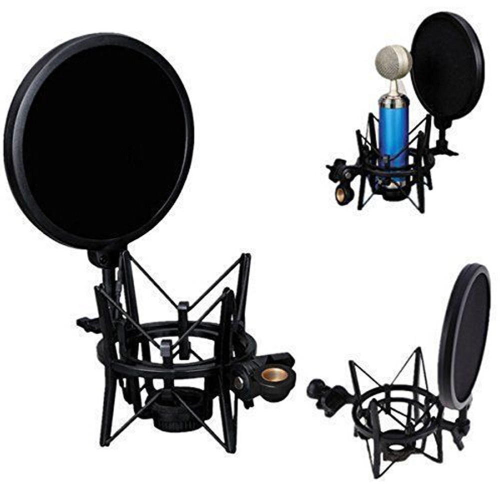 Universal Microphone Shock Mount With Pop Filter Windscreen Shield,Connector Adapter,Anti... by CALVES