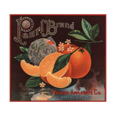 Pearl Brand - Kansas City, Missouri - Citrus Crate Label Print Wall Art By Lantern Press - Party City Kansas City Missouri